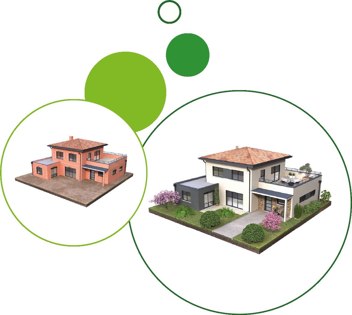Créa visuel - maisons 3D avant après - BD